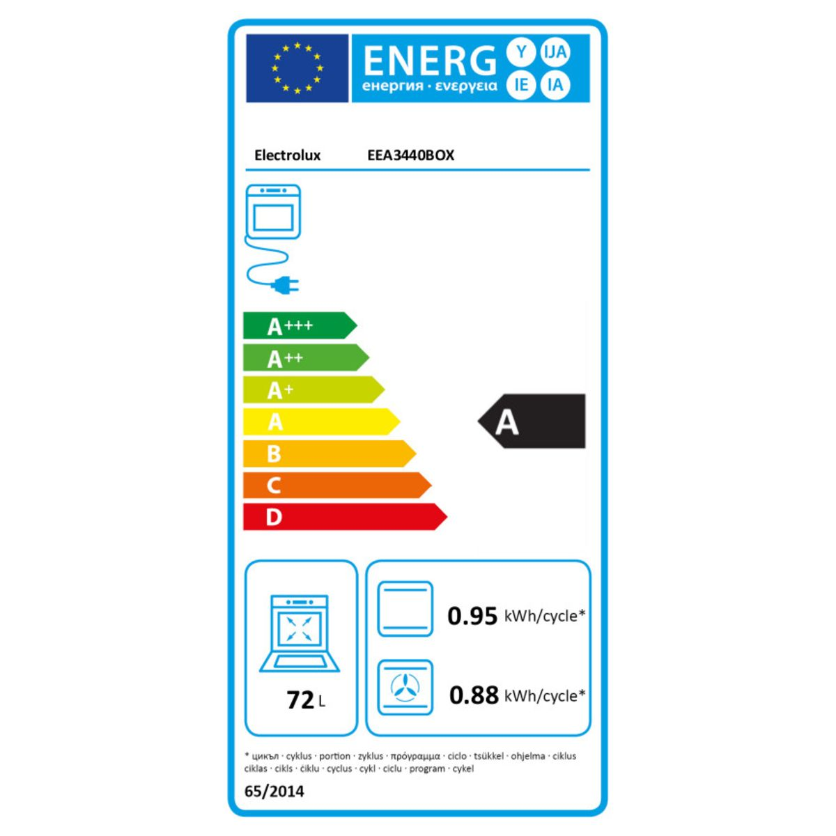 ELECTROLUX Four Encastrable EEA3440BOX, 72 L, Multifonction, Chaleur Tournante, Nettoyage Catalyse