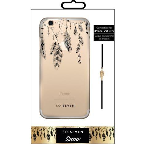 SO SEVEN Coque pour IPhone 6/6S/7 - Motifs plumes et bracelet