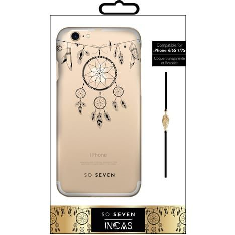 SO SEVEN Coque pour Iphone 6/6S/7 - Transparente Attrape rêves et bracelet