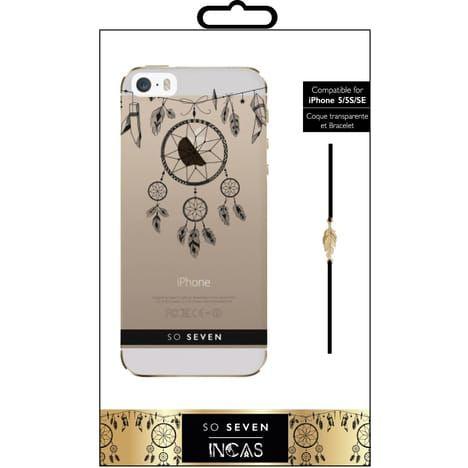 SO SEVEN Coque pour IPhone 5/5S/SE - Transparente Attrape rêves et bracelet