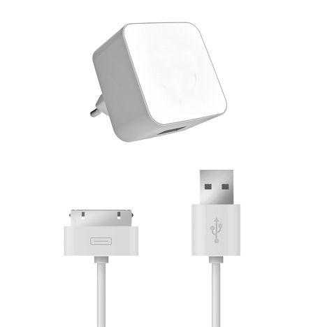 QILIVE Chargeur Secteur USB blanc + Cable 30P 1A Blanc