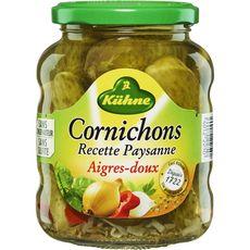 KUHNE Cornichons aigres-doux recette paysanne bocal 185g