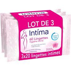 INTIMA Lingettes hygiène intime 3x20 lingettes