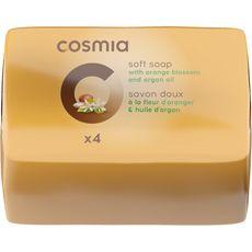 COSMIA Savon solide fdoux à la fleur d'oranger et huile d'argan 4 savons 360g