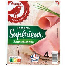 Auchan jambon supérieur découenné 4 tranches 180g