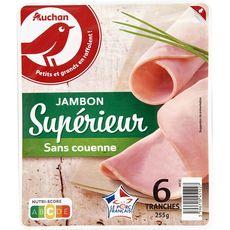 AUCHAN Jambon blanc supérieur sans couenne 6 tranches 255g