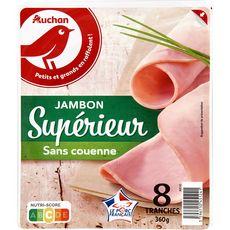 AUCHAN Jambon blanc supérieur sans couenne 8 tranches 360g