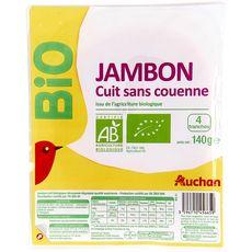 Auchan jambon découenné dégraissé bio tranche x4 -140g