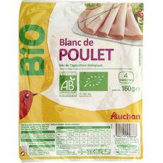 AUCHAN Blanc de poulet bio 4 tranches 160g