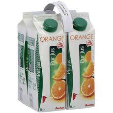 Auchan pur jus d'orange brique avec pulpe 4x1l