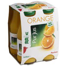 Auchan pur jus d'orange bouteille verre 4x20cl
