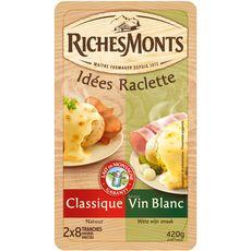RICHESMONTS Fromage raclette natur et vin blanc 2x8 tranches 420g