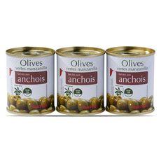 AUCHAN Olives verte manzanilla farcies anchois boite 3x50g
