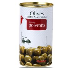AUCHAN Olives vertes Manzanilla farcies aux poivrons 150g