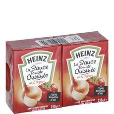 HEINZ Sauce tomate cuisinée ail et oignons sans conservateur, en brique 2x210g