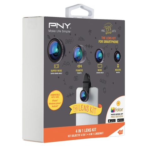 PNY Kit objectifs pour smartphone - 4 in 1 Lens