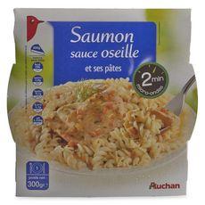 AUCHAN Saumon sauce oseille et ses pâtes en barquette 2min au micro-ondes 1 personne 300g