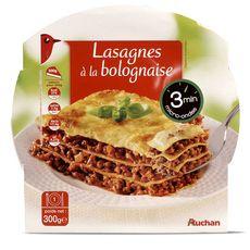AUCHAN Lasagnes à la bolognaise en barquette 3min au micro-ondes 1 personne 300g