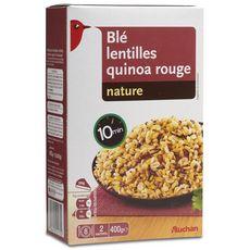 AUCHAN Mélange blé lentilles quinoa rouge prêt en 10 min 8 portions 2x200g