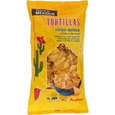 AUCHAN Tortillas chips nature l'huile de tournesol 185g