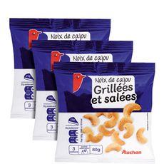 Auchan noix de cajou grillées salées 3x80g