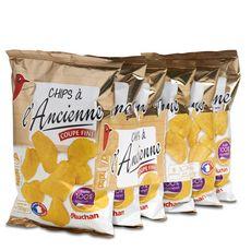 AUCHAN Chips à l'ancienne nature à l'huile de tournesol - sachets individuels lot de 6 6x30g