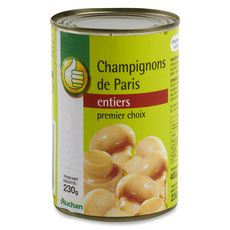 AUCHAN ESSENTIEL Champignons de Paris entiers au naturel 1er choix 230g