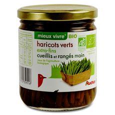 Auchan Bio Haricots verts extras fins cueillis et rangés main 220g