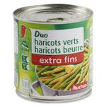 Auchan duo haricots verts et haricots beurre extra fins 225g
