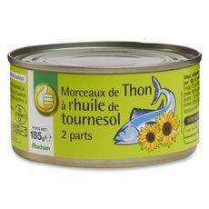 AUCHAN ESSENTIEL Thon en morceaux à l'huile de tournesol 185g