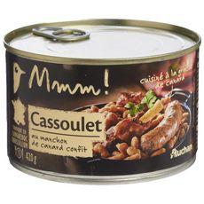 AUCHAN MMM! Cassoulet au manchon de canard confit cuisiné à la graisse de canard 1 personne 420g