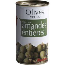 AUCHAN Olives vertes farcies aux amandes entières 150g