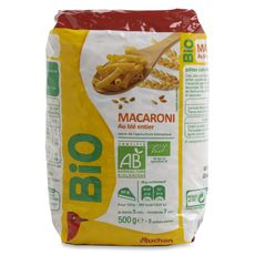 AUCHAN BIO Macaroni au blé entier 500g