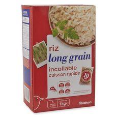 AUCHAN Riz long grain incollable sachets cuisson prêt en 10 min 5 sachets 5x200g
