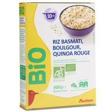AUCHAN BIO Riz basmati boulgour quinoa rouge 400g