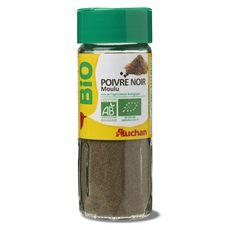Auchan bio poivre noir moulu flacon verre 45g