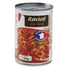 Auchan Ravioli pur bœuf viande bovine origine France 400g