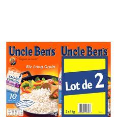 UNCLE BEN'S Uncle Benz riz long grain sachet cuisson bipack 2x1kg