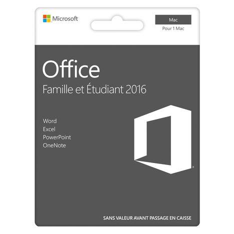 MICROSOFT Logiciel bureautique MAC Office famille et étudiant 2016