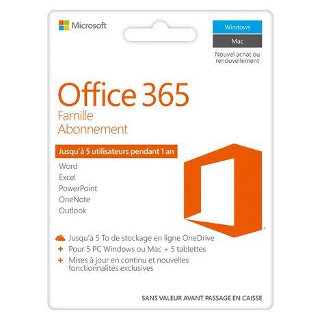 MICROSOFT Logiciel bureautique Office 365 Home -  Abonnement Famille - Jusqu'à 5 utilisateurs pendant 1an