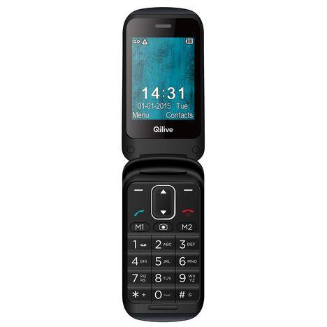 QILIVE Téléphone portable FLIP PHONE 879474 - Sénior - Noir