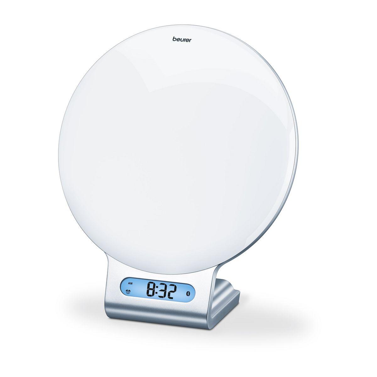 Radio-réveil lumineux connecté Bluetooth WL 75 : simulateur du lever et du coucher du soleil avec signal sonore, radio, 6 mélodies et 4 berceuses