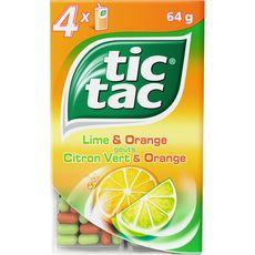 Tic Tac Pastilles goût citron vert et orange 4 boîtes 64g