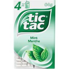 Tic Tac Pastilles goût menthe verte 4 boîtes 64g