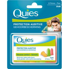 Quies protections auditives mousse fluo x8 paires