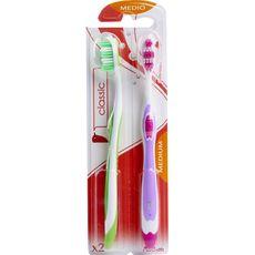 Auchan Brosses à dents classiques medium x2