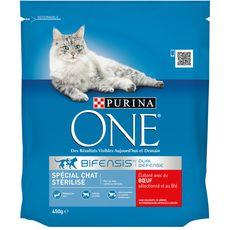 PURINA One bifensis croquettes au boeuf blé pour chat stérilisé 450g