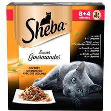 SHEBA Coffret du boucher avec des légumes sauces gourmandes pour chats 8+4 offerts 12x85g