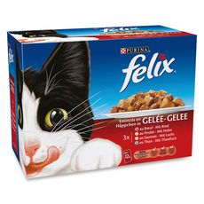 FELIX Sachets repas pâtée en gelée viandes et poissons pour chat 12x100g