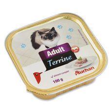 AUCHAN Adult barquette terrine de pâtée au boeuf pour chat 100g